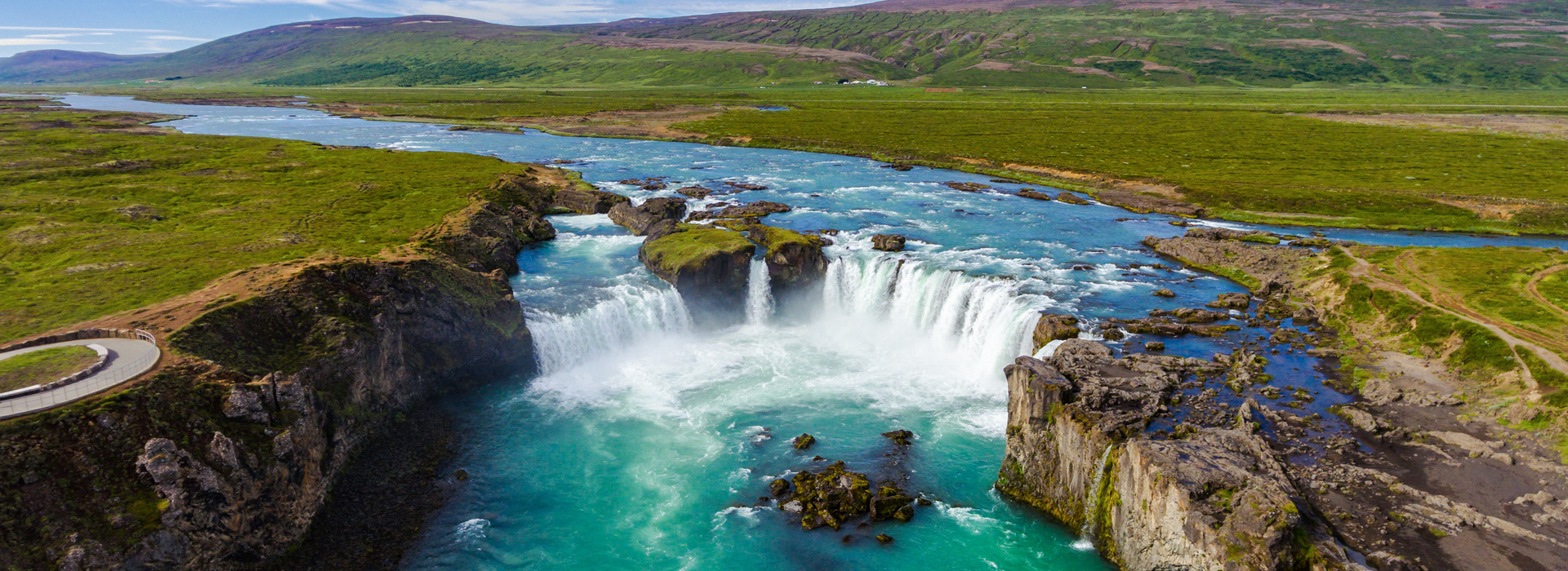 Aerial view of Godafoss waterfall, Iceland