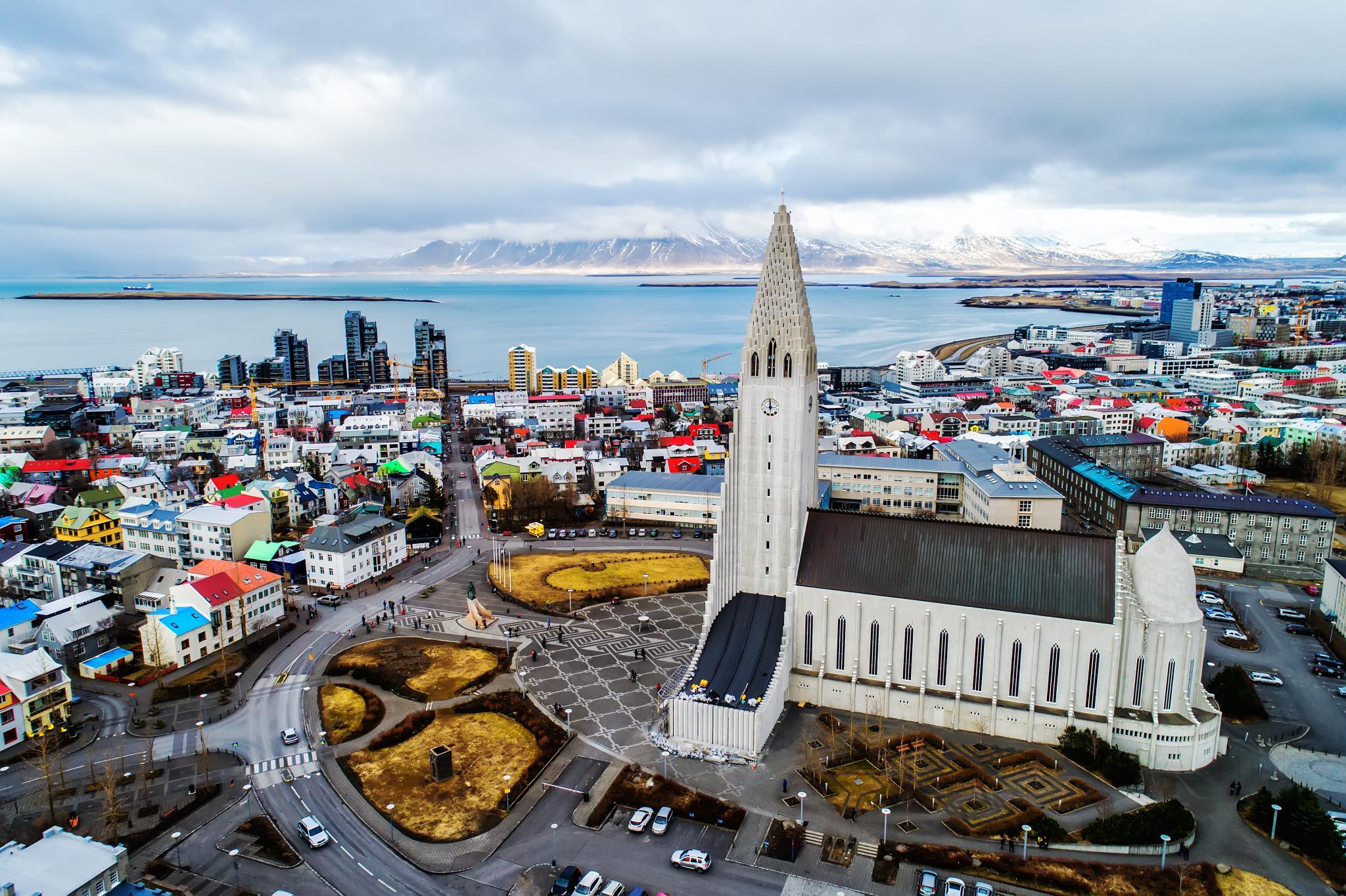 Aerial view of Reykjavik, Iceland