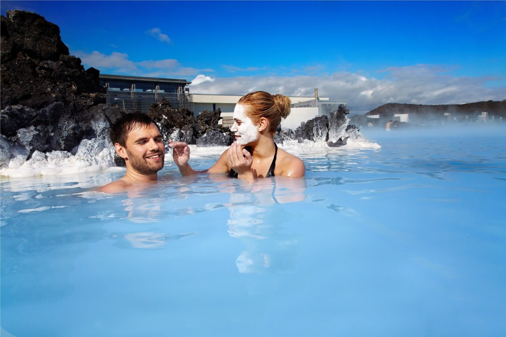 A couple in Blue Lagoon, Iceland