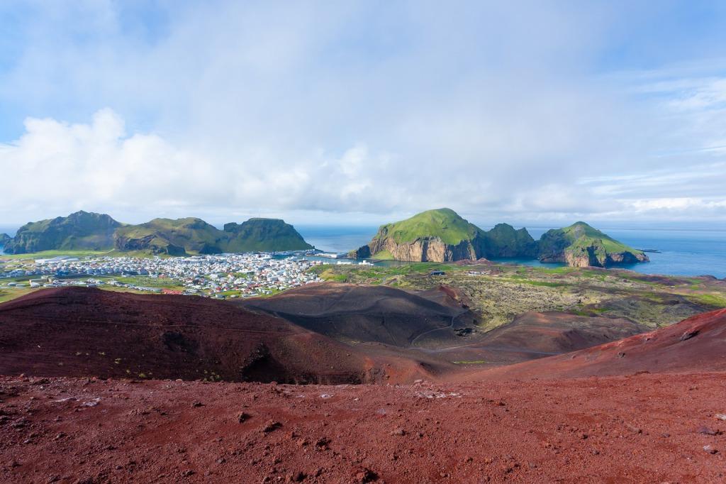 Heimaey town aerial view from Eldfell volcano. Westman Islands in Iceland