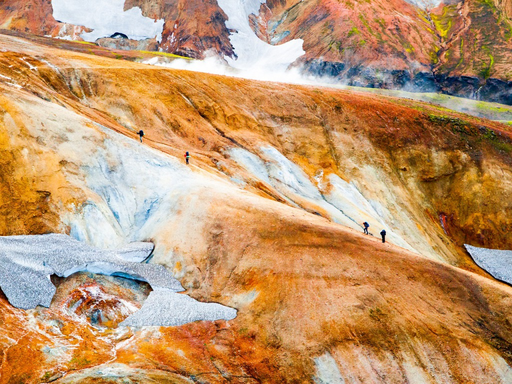 Group of hikers going up the path at Landmannalaugar, Laugavegur trek, Iceland