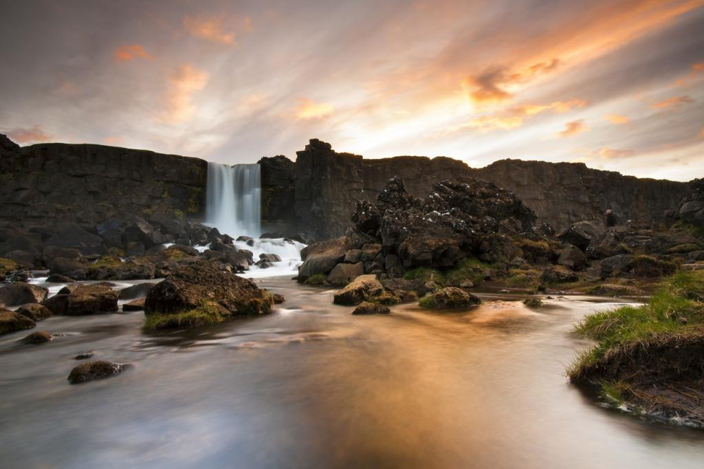 Oxararfoss waterfall in Thingvellir, Iceland.