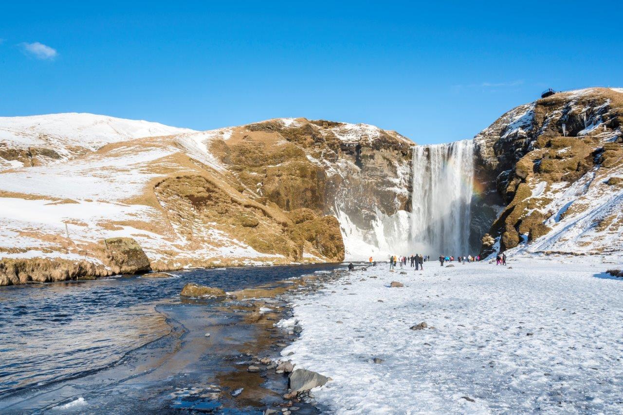 Skogafoss waterfall. Iceland. Winter view