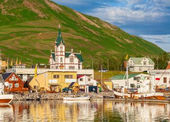 Town of Husavik, the whale capital of Iceland at sunset