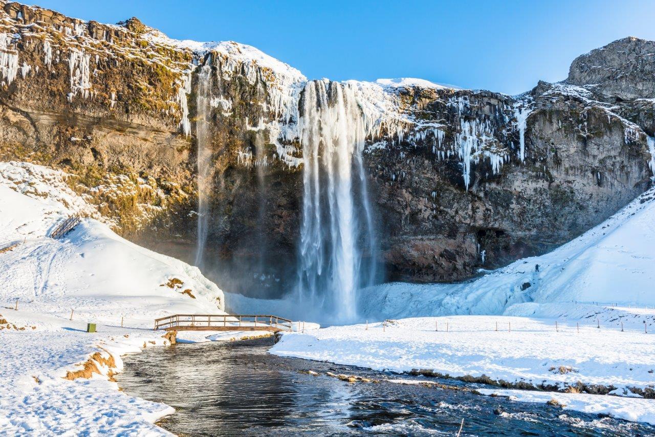 Waterfall Seljalandsfoss in winter