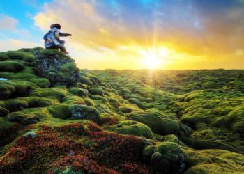 Romantic sunrise over Eldhraun Iceland