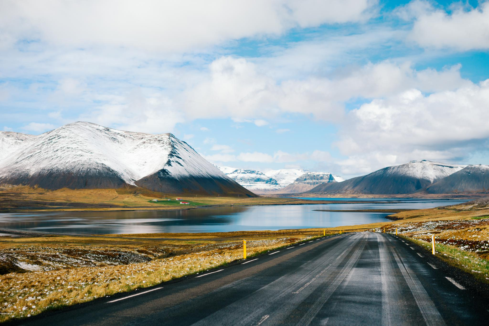 Road through the mountains and fjords in Snaefellsnes peninsula Iceland