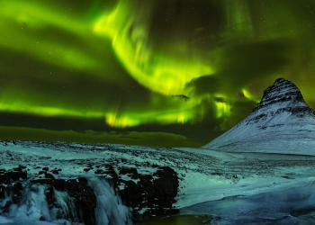 Aurora Borealis with Kirkjufell mountain, Iceland