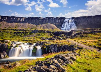 Scenic waterfall Dynjandifoss in Westfjords, Iceland