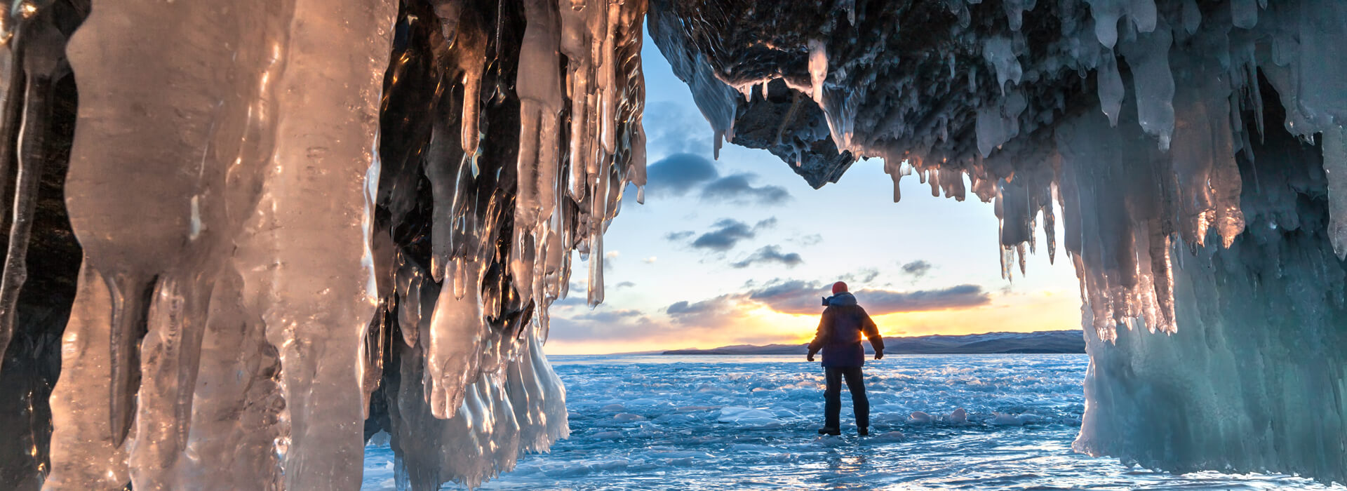 Ice cave in Iceland in sunrise