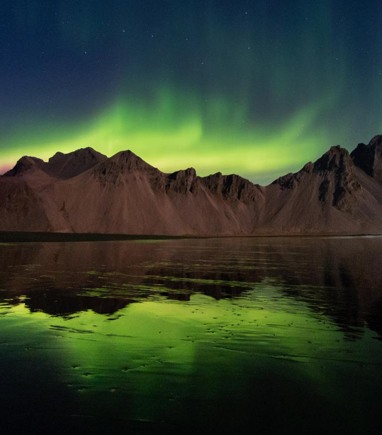 Northern Lights in Vestrahorn, Iceland