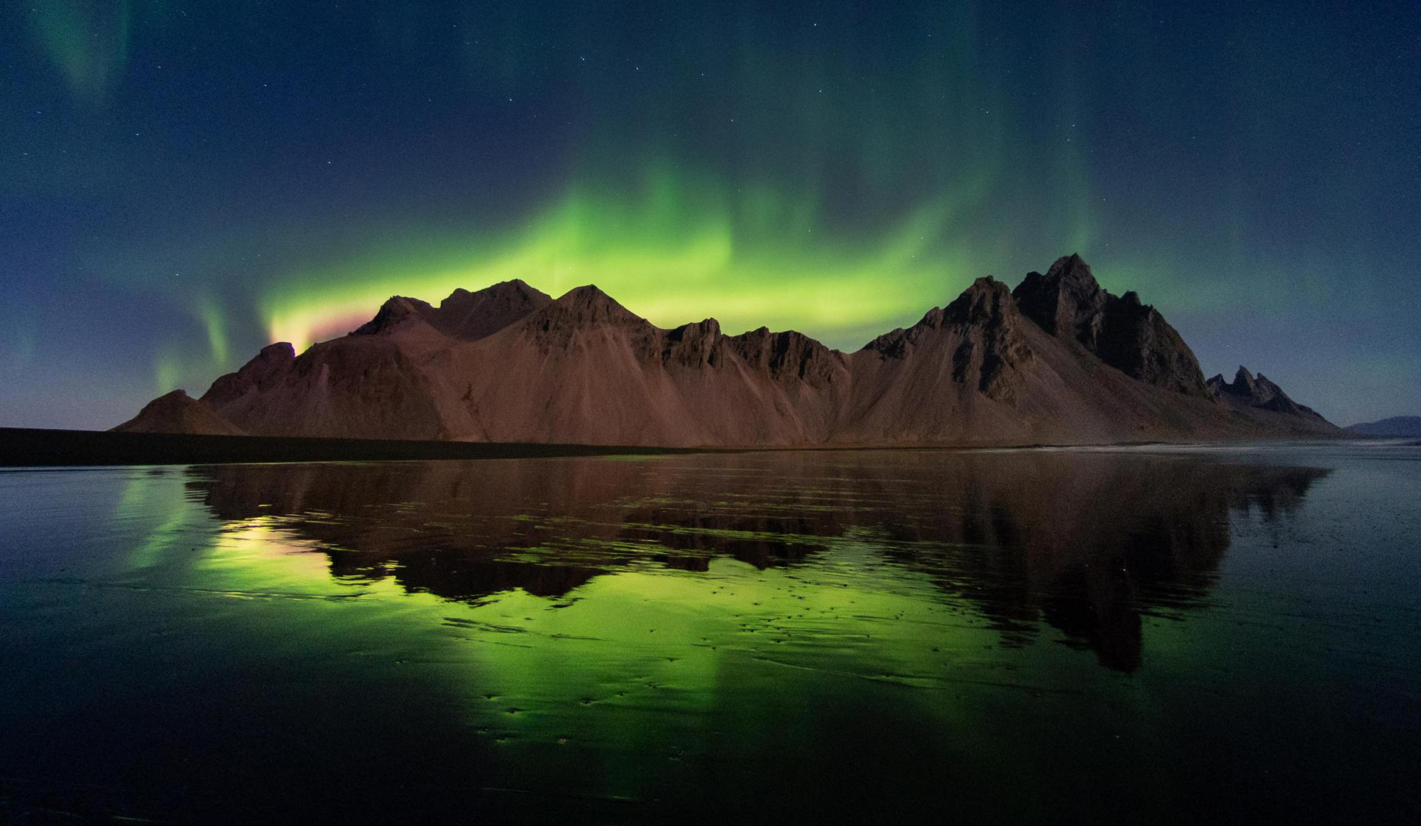 Northern Lights in Vestrahorn, Iceland