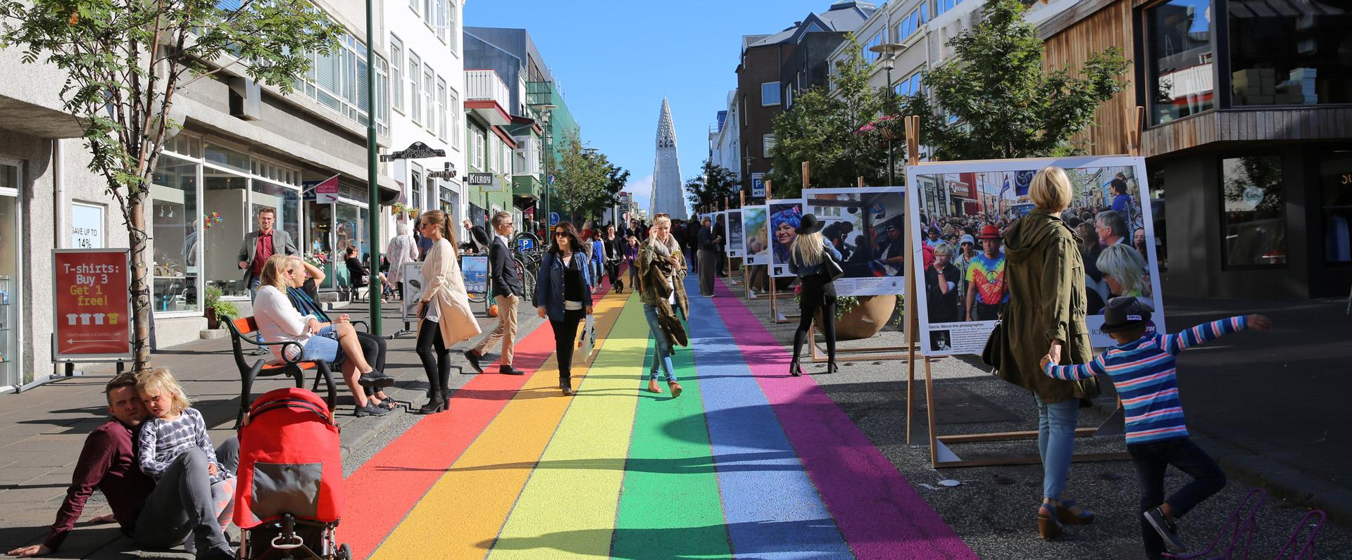 Reykjavik, the colored street of Skolavordustigur