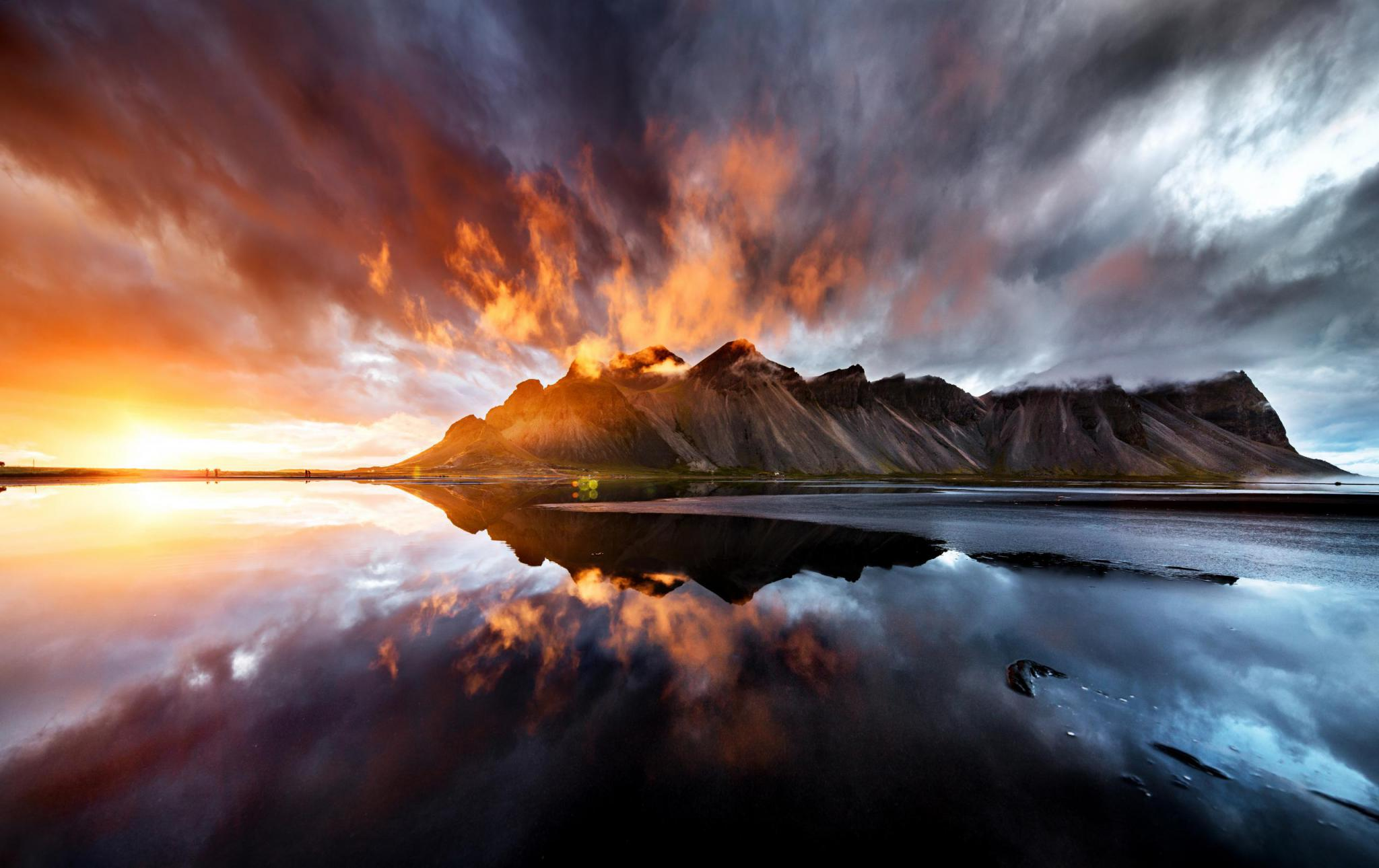 View of the sunset behind Vestrahorn mountain, Iceland