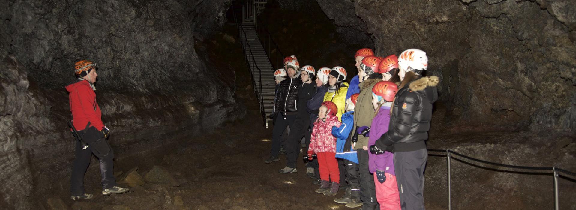 Group tour in Vatnshellir cave, Iceland