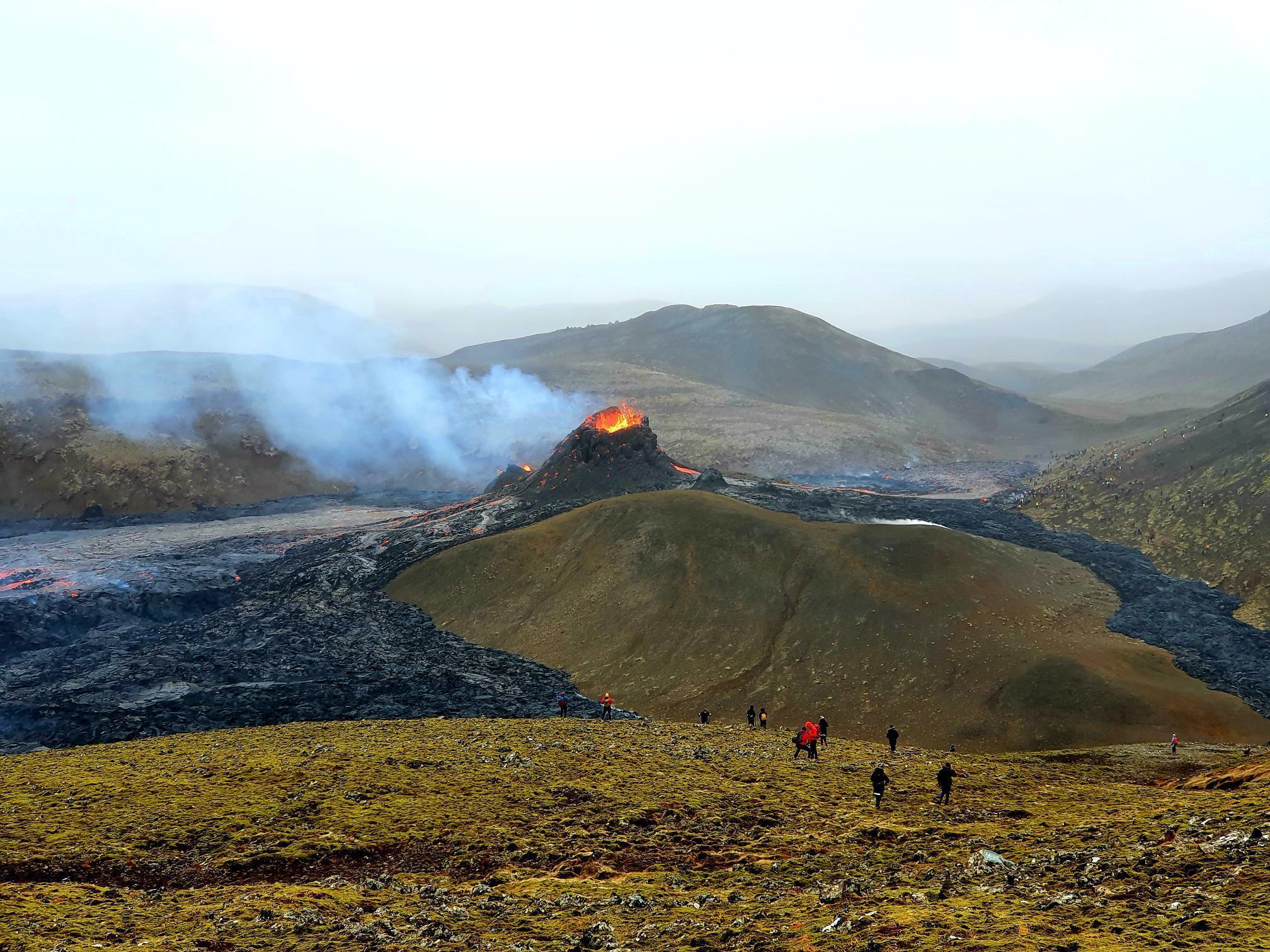 the tower of Fagradalsfjall volcano with smoke