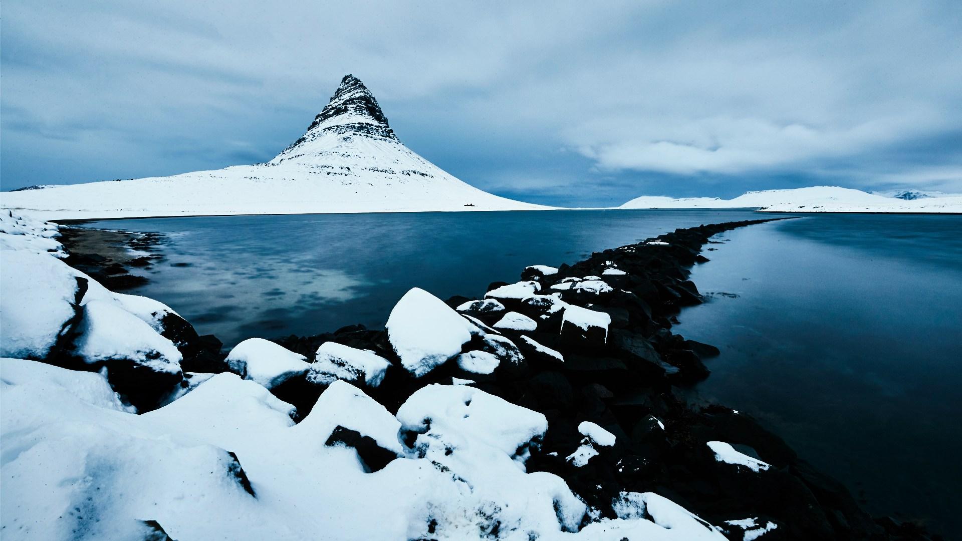 The Kirkjufell mountain on the Snæfellsnes peninsula.