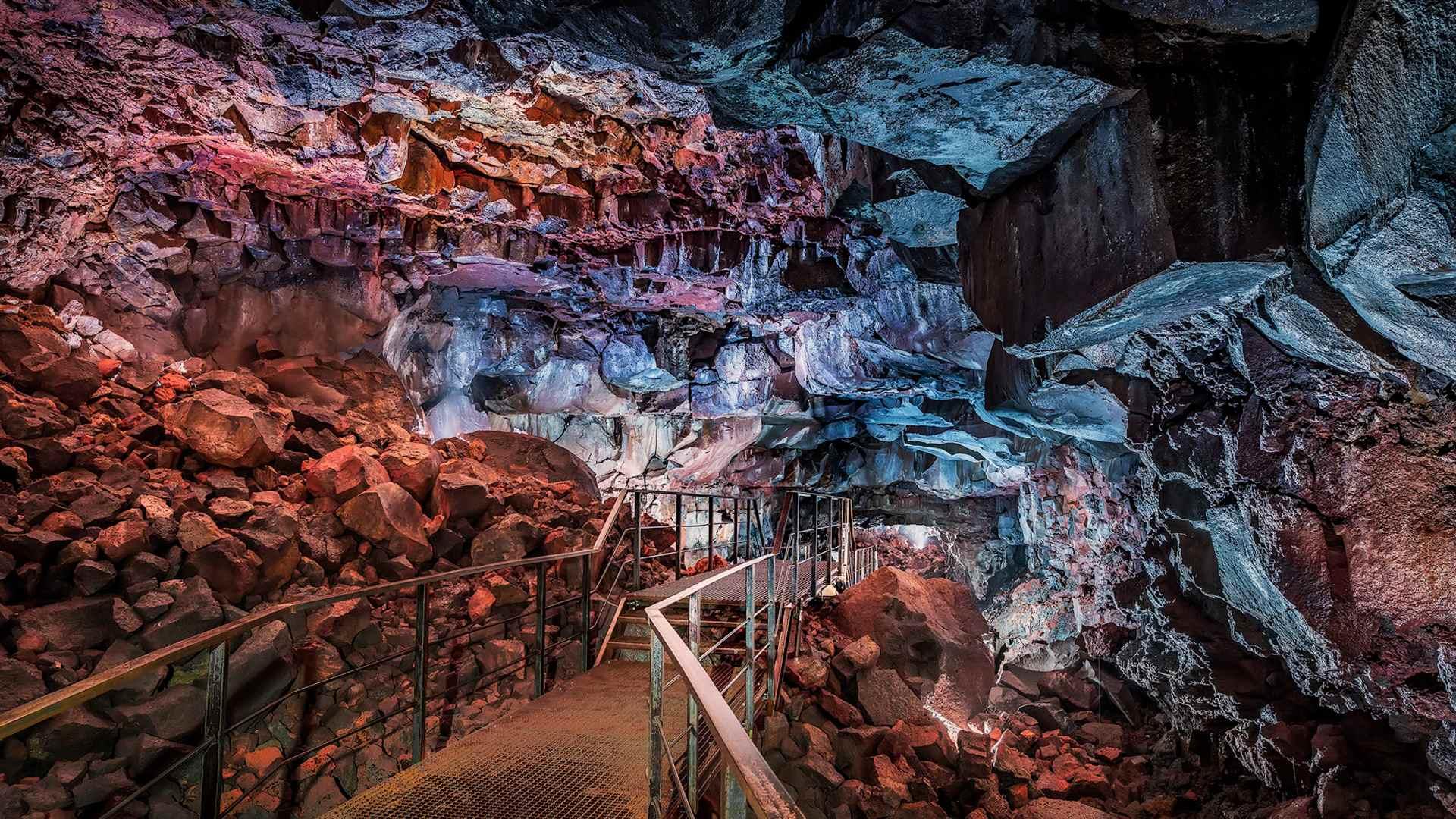 Inside the Raufarhólshellir lava cave